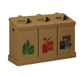 Sustainable and reusable corrugated bins for the separation of plastic, paper, and metal waste materials. Designed as a set of three bins, one for each material, it plays an important role in creating awareness on the importance of waste separation and recycling mainly in office spaces, schools, and households.